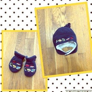 Cute Cars Baby Hat and Mittens Bundle